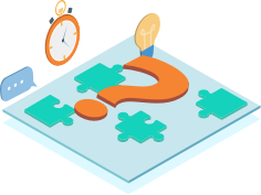 a puzzle including a question mark and a light bulb and a stopwatch on the left